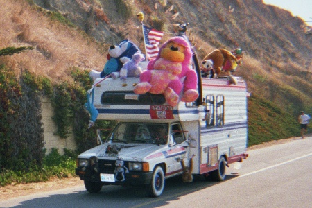 [stuffed animal laden Toyota RV]
