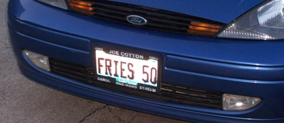 [Fries 50 license plate]