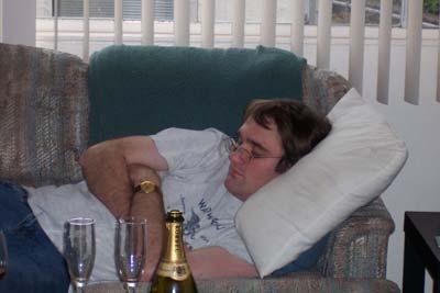 [Asleep on Mel's couch]