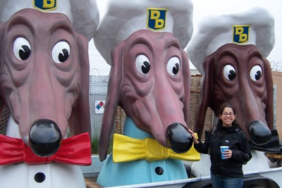 [Melissa with the dogs outside the Life Size Mouse Trap]